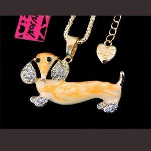 New Betesy Johnson yellow dog necklace